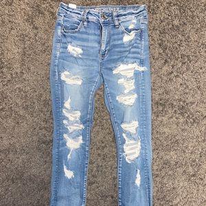 Destroyed American Eagle hi rise jeans